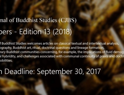 Canadian Journal of Buddhist Studies: Call for Papers — Edition 13 (2018)